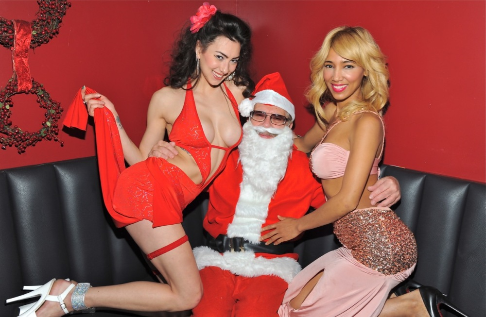 Santa with Rick's Cabaret NYC Girls